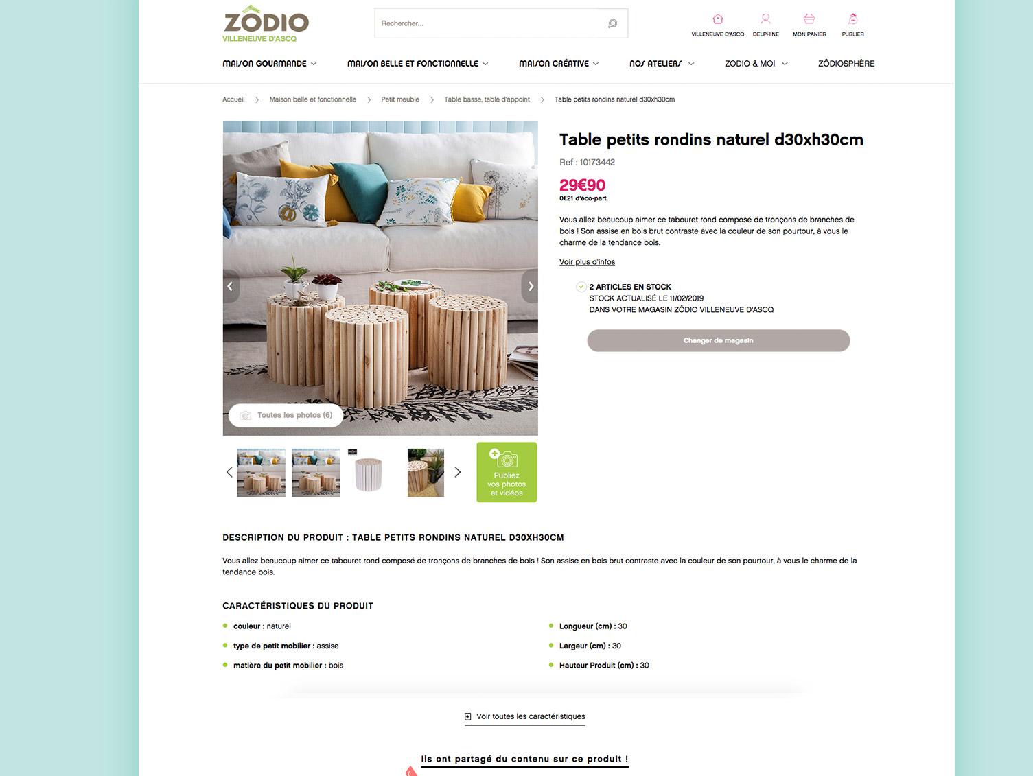 Image fiche produit site e-commerce Zodio